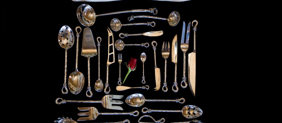 Taos Twist Serving Set Roses on Black Velvet